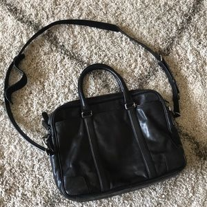 Coach black leather briefcase / satchel/laptop bag